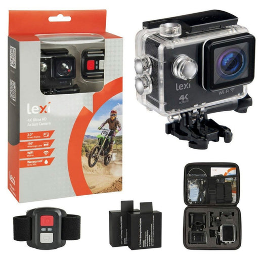 Lexi PI00501 Ultimate 4K Action Video Camera WiFi Waterproof Wide Angle Lens - Image 1