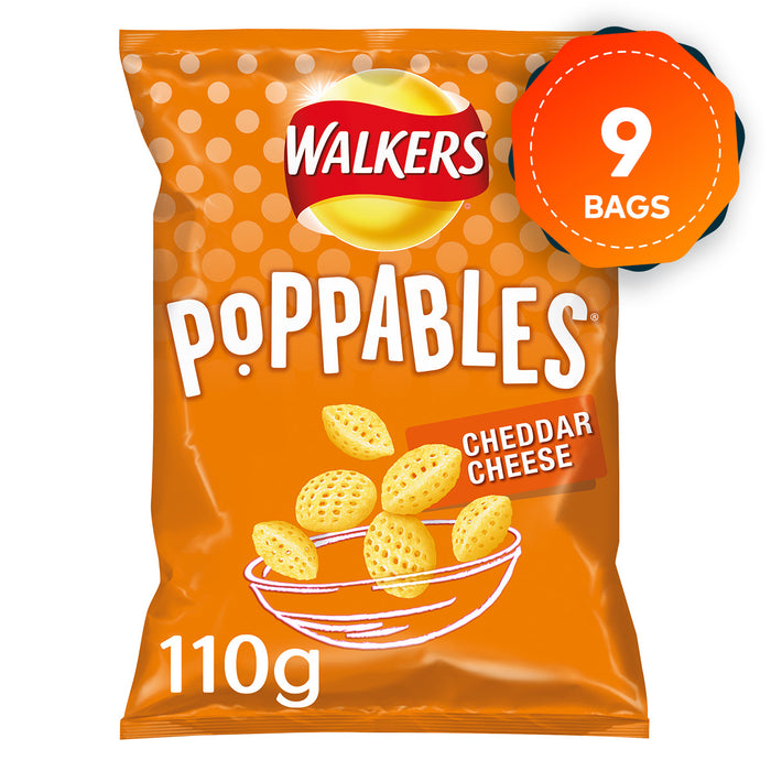 9 x Walkers Poppables Cheddar Cheese Snacks Crisps 110g Suitable for Vegetarians - Image 1