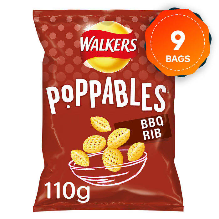 9 x Walkers Poppables BBQ Rib Snacks Crisps 110g Suitable for Vegetarians - Image 1