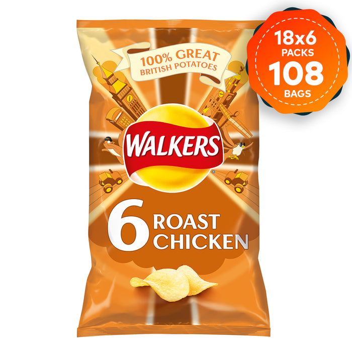 108 x Walkers Crisps Roast Chicken Multipack in Pack of 6 x 25g - Image 1
