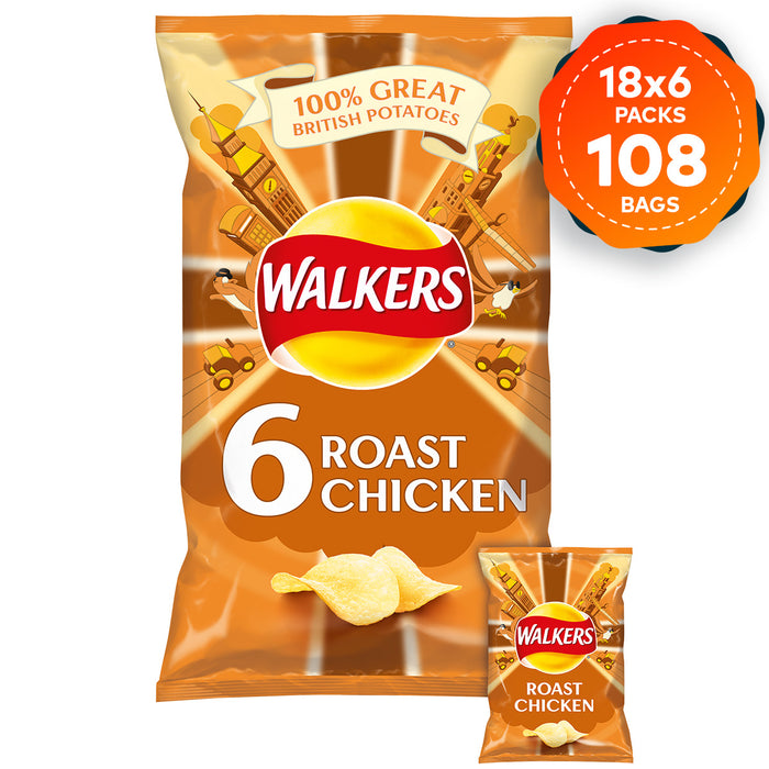 108 x Walkers Crisps Roast Chicken Multipack in Pack of 6 x 25g - Image 2