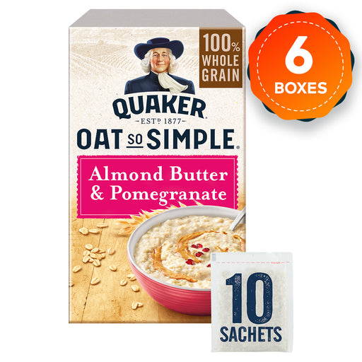 6 x Quaker Oat So Simple Almond Butter and Pomegranate Porridge 10 Sachets - Image 1