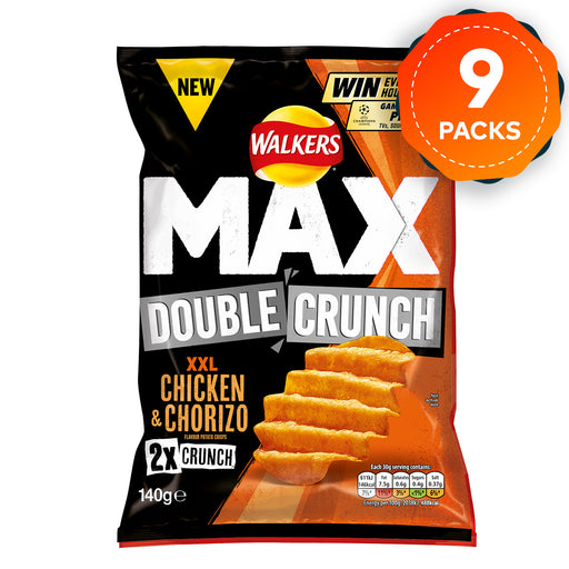9 x Walkers Max Crisps Double Crunch XXL Chicken & Chorizo Flavour 140g - Image 1