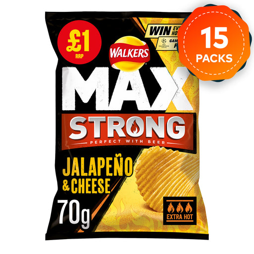 15 x Walkers Max Crisps Strong Jalapeno And Cheese 70g Short dated - Image 1