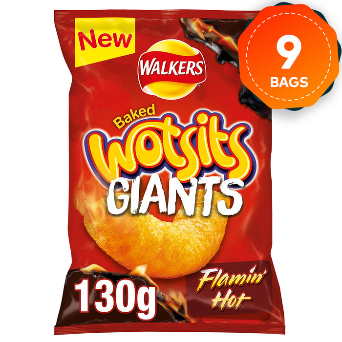 9 Bags of Giants Walkers Wotsits Baked Flamin' Hot Snacks 130g - Image 1