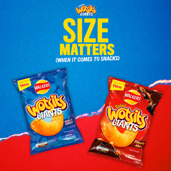 9 Bags of Giants Walkers Wotsits Baked Flamin' Hot Snacks 130g - Image 2