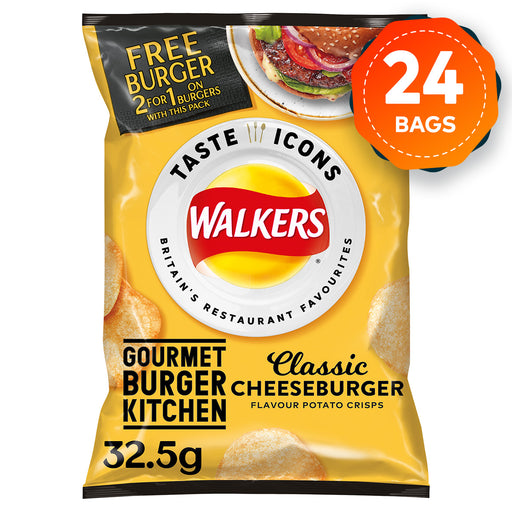 24 x Walkers Crisps Classic Cheeseburger Flavour 32.5g - Image 1