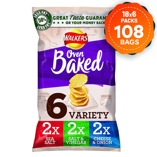 108 Bags of Walkers Crisps  Baked Variety Mix Pack of 6 - Image 1