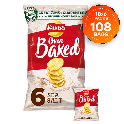 108 Bags of Walkers Crisps Oven Baked Sea Salt Pack of 6 - Image 1