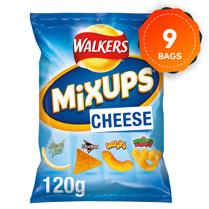 9 x Walkers Mix Ups Cheese Snacks Crisps 120g Suitable for Vegetarians - Image 1