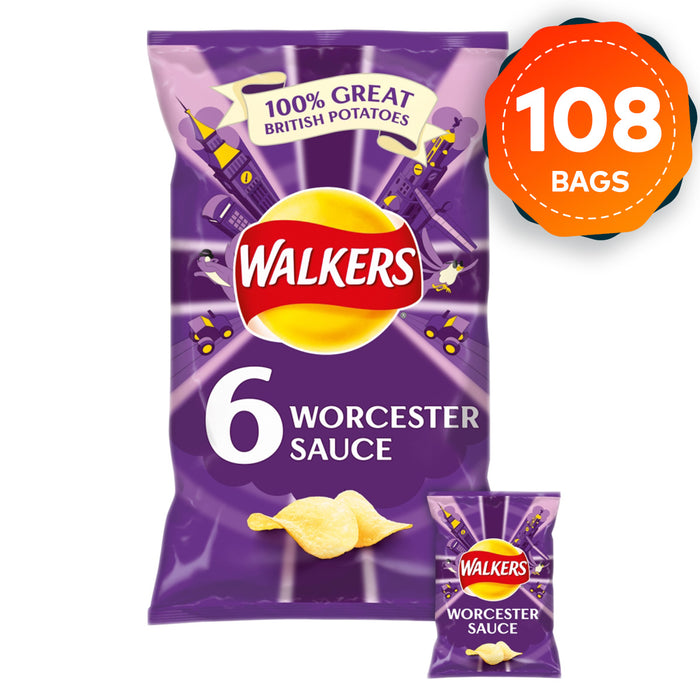 108 Bags of Walkers Crisps Box Worcester Sauce in Pack of 6 - Image 1