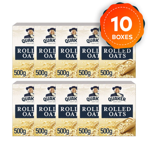 10 x Quaker Porridge Box Rolled Oats Box of 500g - Image 1