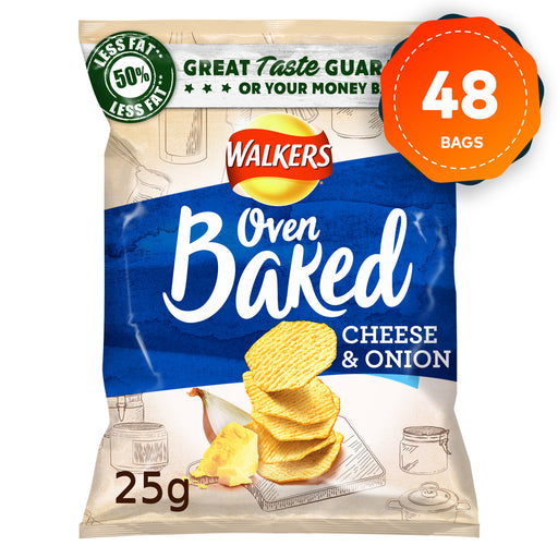48 x Walkers Crisps Baked Cheese & Onion 25g - Image 1
