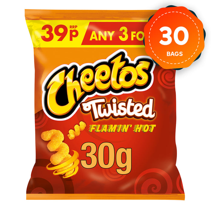30 x Cheetos Twisted Flamin' Hot Snacks Crisps 30g - Image 1