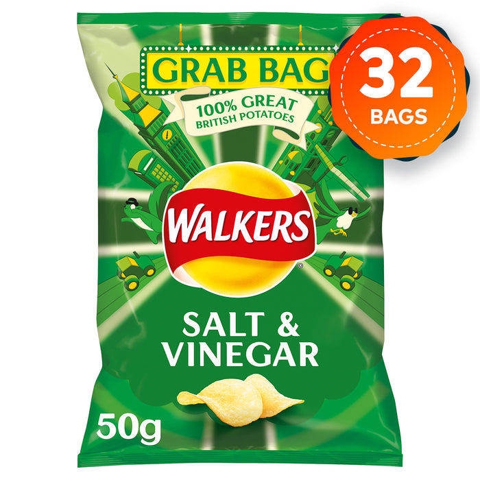 32 x Large 50g Grab Bags of Walkers Crisps Salt & Vinegar Sharing Pack - Image 1