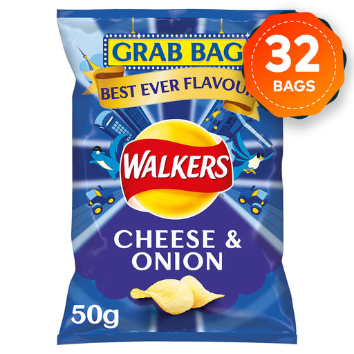 32 x Large 50g Grab Bags of Walkers Crisps Cheese & Onion Sharing Pack - Image 1