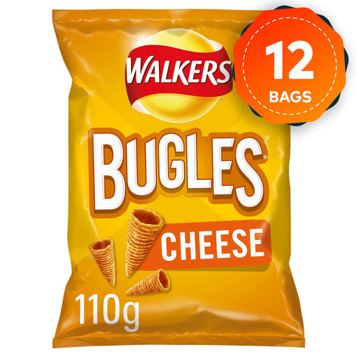 12 x Walkers Snacks Bugles Cheese Flavour 110g Suitable for Vegetarians - Image 1