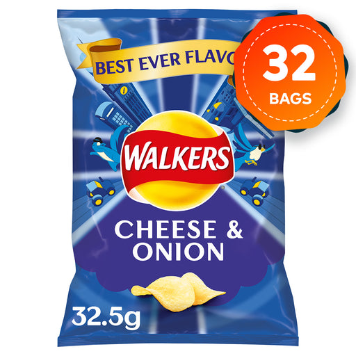 32 Bags of Walkers Cheese & Onion Crisps 32.5g - Image 1