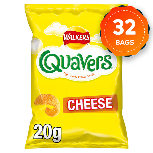 32 Bags of Walkers Quavers Cheese Snacks 20g - Image 1