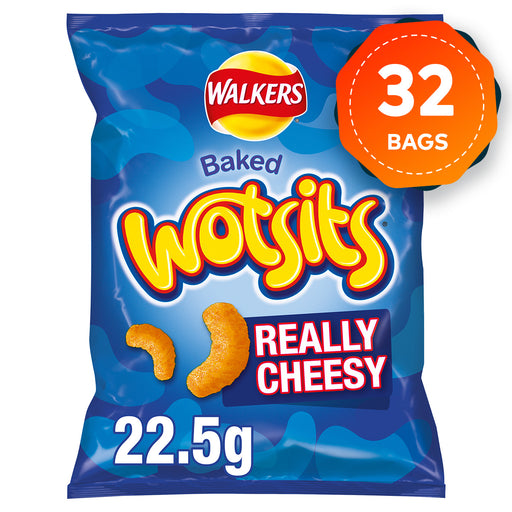 32 Bags of Walkers Wotsits Really Cheesy Snacks 22.5g - Image 1