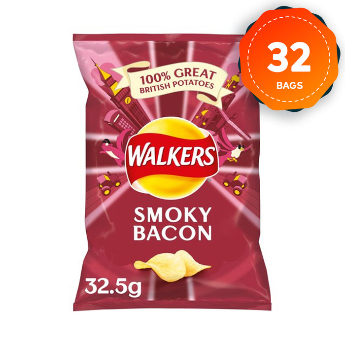 32 x Walkers Crisps Smokey Bacon 32.5g - Image 1