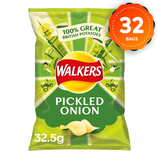 32 x Walkers Crisps Box Pickled Onion 32.5g - Image 1