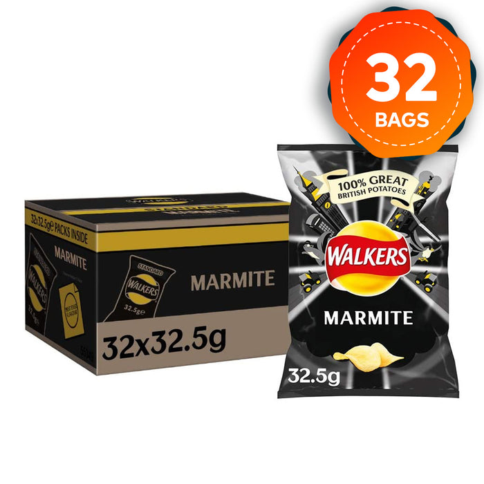 32 x Walkers Marmite 32.5g Crisps Suitable for Vegetarian - Image 1
