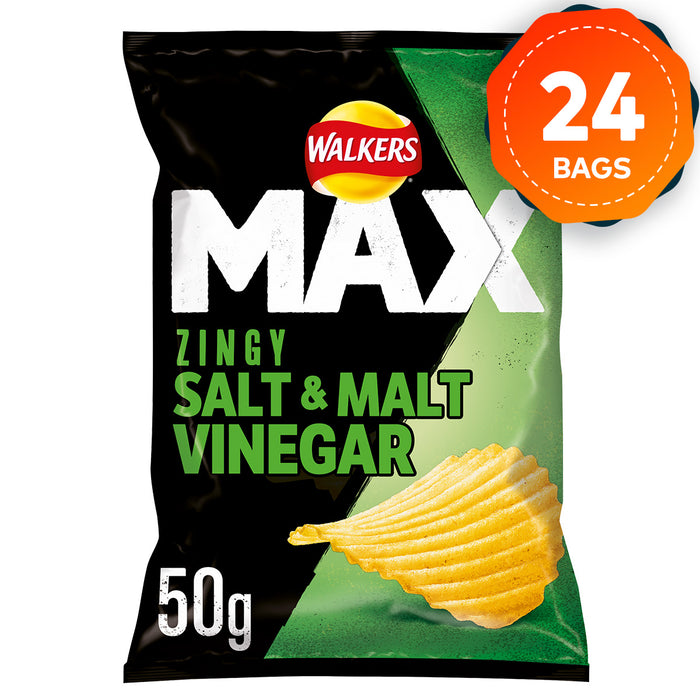 24 x Walkers Crisps Max Zingy Salt & Malt Vinegar Snacks 50g Vegetarians - Image 1