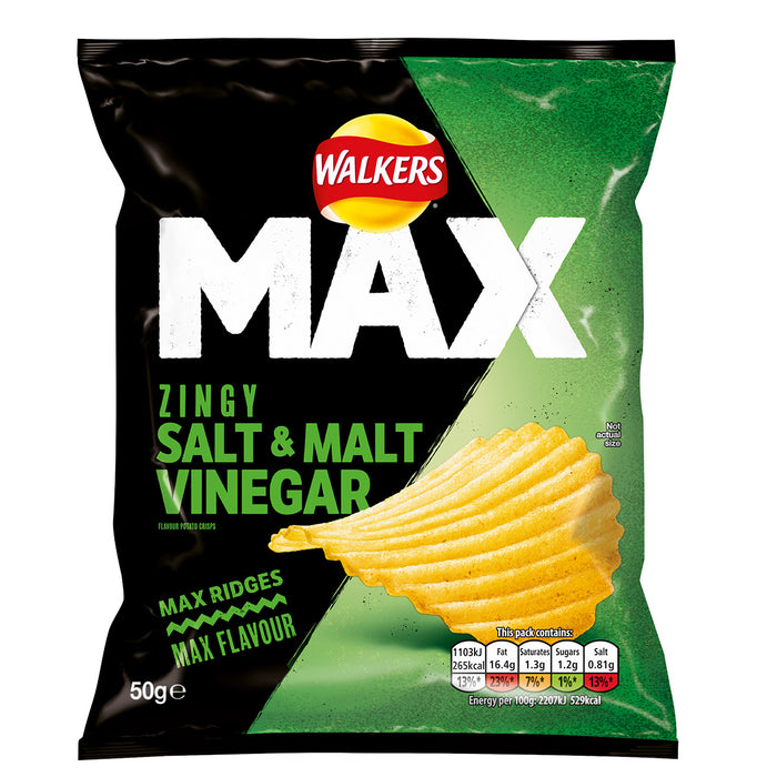 24 x Walkers Crisps Max Zingy Salt & Malt Vinegar Snacks 50g Vegetarians - Image 2
