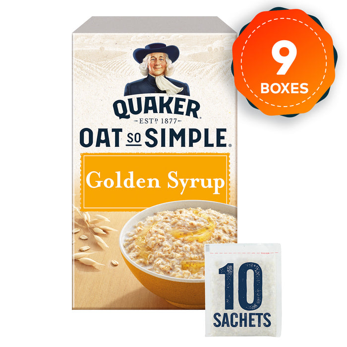 9 Boxes of Quaker Oats Oat So Simple Golden Syrup Porridge in Sachets - Image 1