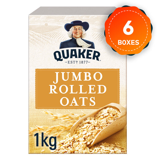 6 x Quaker Porridge Jumbo Rolled Oats Box of 1kg - Image 1