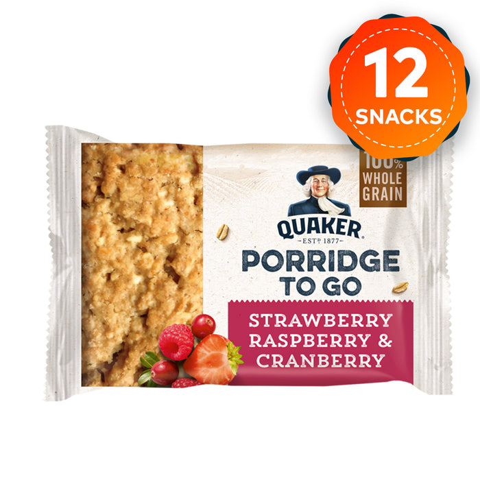 12 x Quaker Porridge To Go Strawberry Raspberry & Cranberry Bars Snacks - Image 1