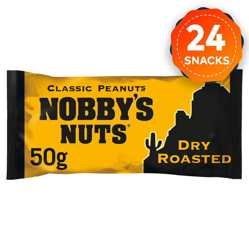 24 x Nobby's Nuts Classic Dry Roasted Peanuts Snack Bar 50g - Image 1