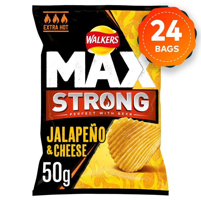 Short dated 24 x Walkers Max Strong Jalapeno And Cheese Crisps 50g - Image 1