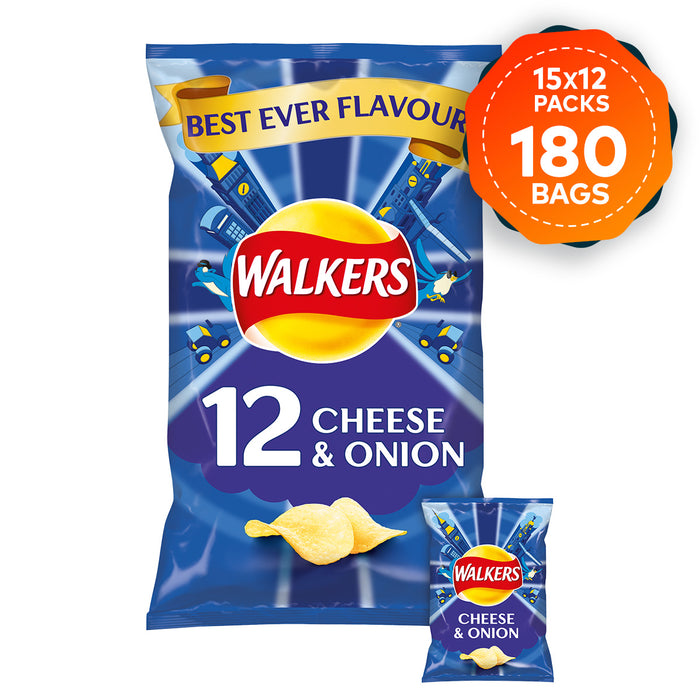 180 Bags of Walkers Crisps Cheese and Onion In Pack 12 x 25g - Image 1