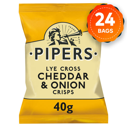 24 x Pipers Crisps Cheddar and Onion 40g - Image 1