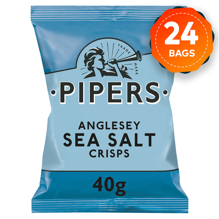 24 x Pipers Crisps Anglesey Sea Salt 40g - Image 1