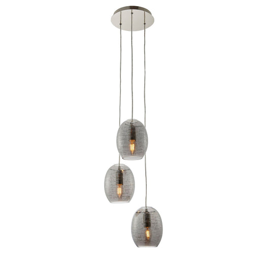 Jenessa Modern Satin Nickel Effect 3 Lamp Ceiling light Smokey Grey Tinted Glass - Image 1