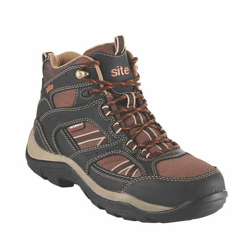 Site Mens Safety Hiker Boots Ironstone Hydroguard Steel Toe Cap Brown Size UK 11 - Image 1