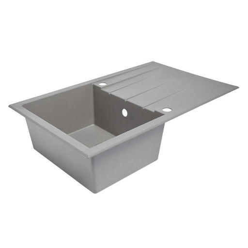 Plastic & Resin Kitchen Sink & Drainer Grey 1 Bowl Reversible 800 x 500mm - Image 1