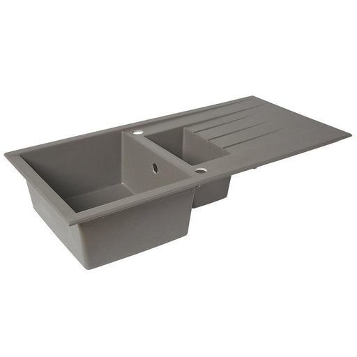 Plastic & Resin Kitchen Sink & Drainer Grey 1.5 Bowl Reversible 1000 x 500mm - Image 1