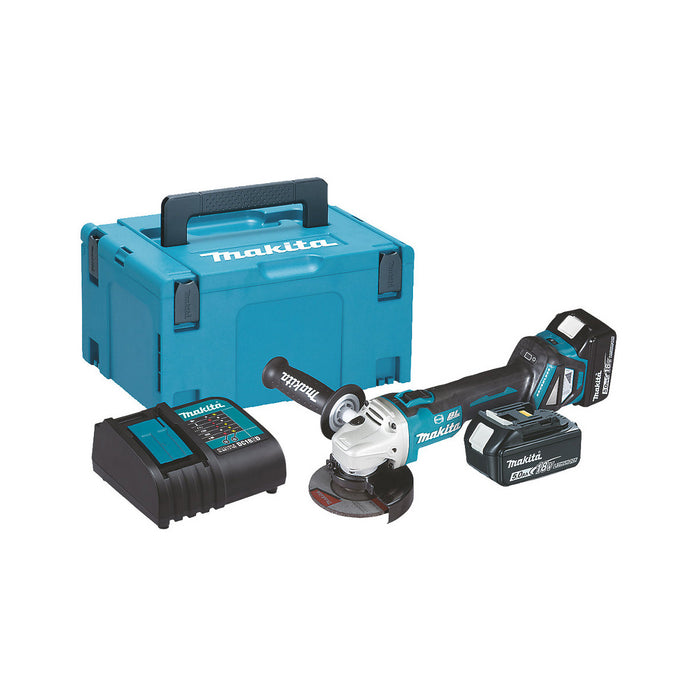 Makita Cordless Angle Grinder DGA463STJ Brushless 2 x 5.0Ah and Case - Image 1