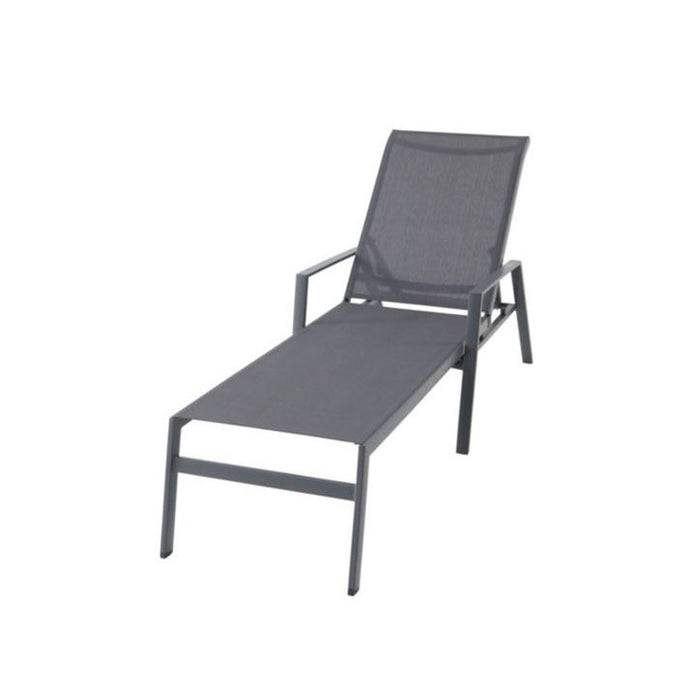 Swindon Grey Metal Sunlounger Reclines Completely - Image 1