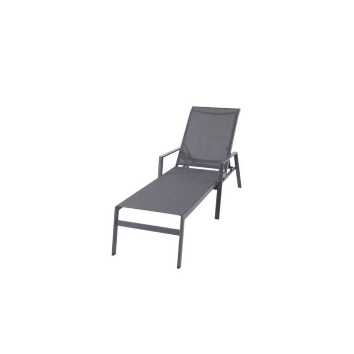 Swindon Grey Metal Sunlounger Reclines Completely - Image 2