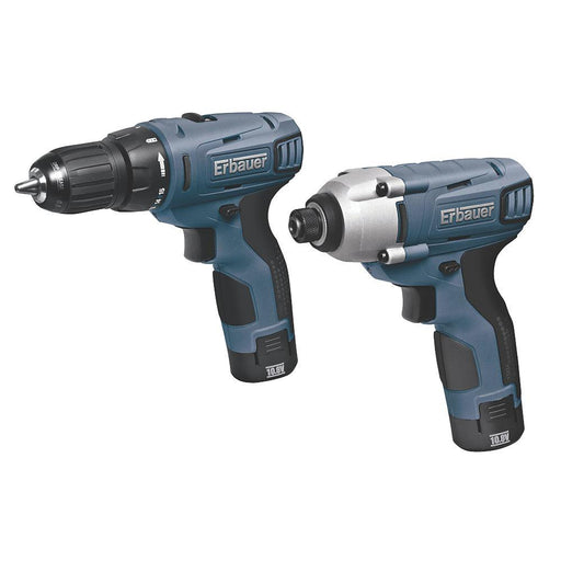 Erbauer ERP408KIT 10.8V 1.3Ah Li-Ion   Cordless Drill Driver & Impact Driver Twin Pack - Image 1