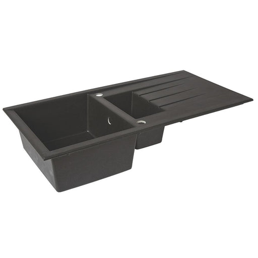 Kitchen Sink & Drainer Black 1.5 Bowl Reversible Plastic & Resin 1000 x 500mm - Image 1