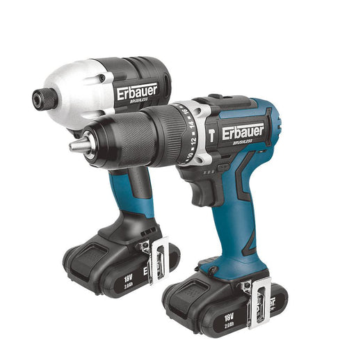 Erbauer ERI716KIT 18V 2.0Ah Li-Ion  Brushless Cordless Combi Drill & Impact Driver Twin Pack - Image 1