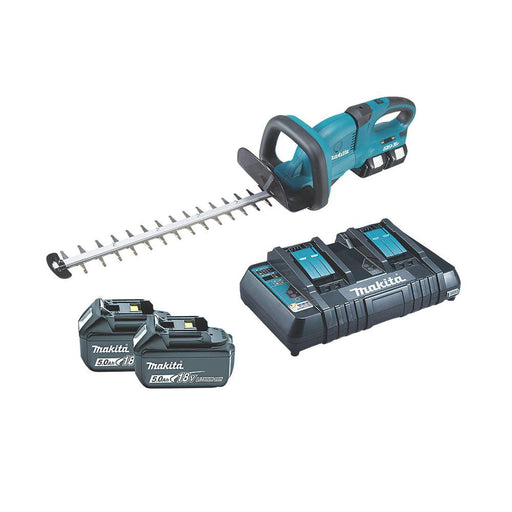 Makita Cordless Trimmer Hedge 55cm DUH551PT2 with 2x5.0Ah Batteries and Charger - Image 1