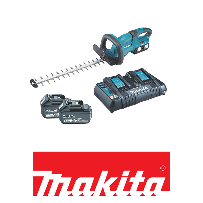 Makita Cordless Trimmer Hedge 55cm DUH551PT2 with 2x5.0Ah Batteries and Charger - Image 2