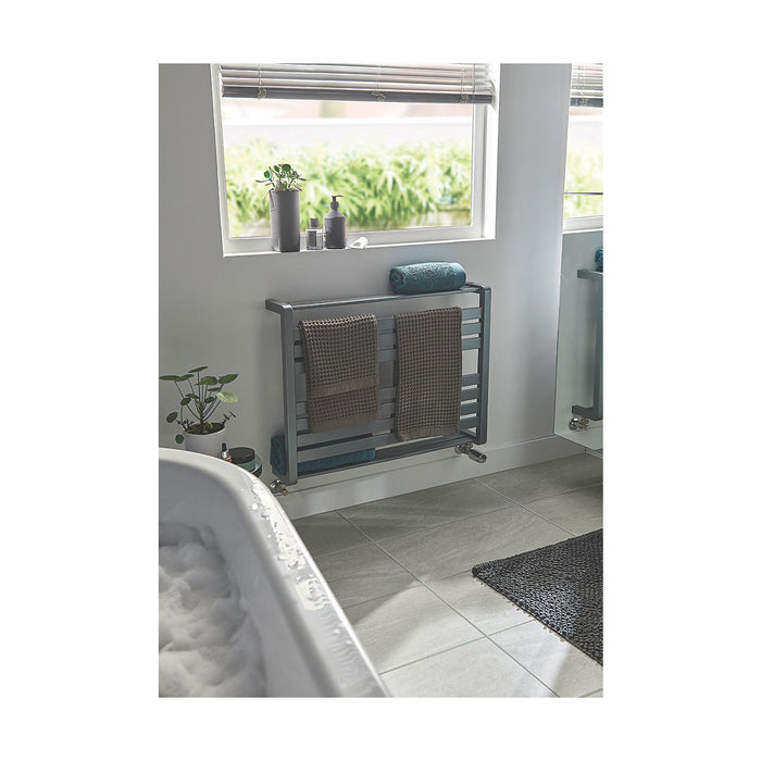 GoodHome Towel Warmer Loreto Horizontal  600 x 800mm Grey Silver - Image 5